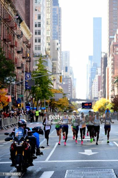 Athletes in the Men's Professional Division compete in the TCS New York City Marathon on November 03, 2019 in New York City.