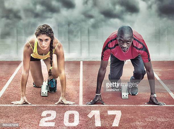 Athletes in the starting blocks