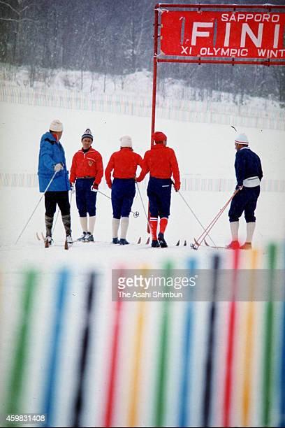 Athletes in training ahead of the 1972 Sapporo Winter Olympics at Nishioka CrossCountry Course in 1972 in Sapporo Hokkaido Japan