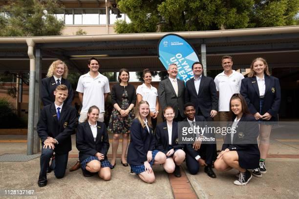 Athletes Jess Fox Matt Shirvington and Aidan Roach pose with NSW Premier Gladys Berejiklian Minister for Sport Stuart Ayres AOC CEO Matt Carroll and...