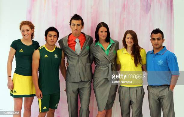 Athletes Jess Rothwell, Vannara Be, Sean Wroe, Leisel Jones, Georgia Bonora and Farzad Tarash pose during the unveiling of the 2010 Australian...