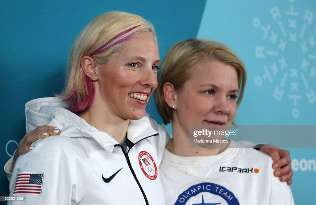 Athletes Kikkan Randall of the United States and Emma Terho of Finland pose for a photo after being announced as new members of the Athletes' Commission during a press conference revealing the results on day thirteen of the PyeongChang 2018 Winter Olympic Games at the Athletes' Village on February 22, 2018 in Pyeongchang-gun, South Korea.