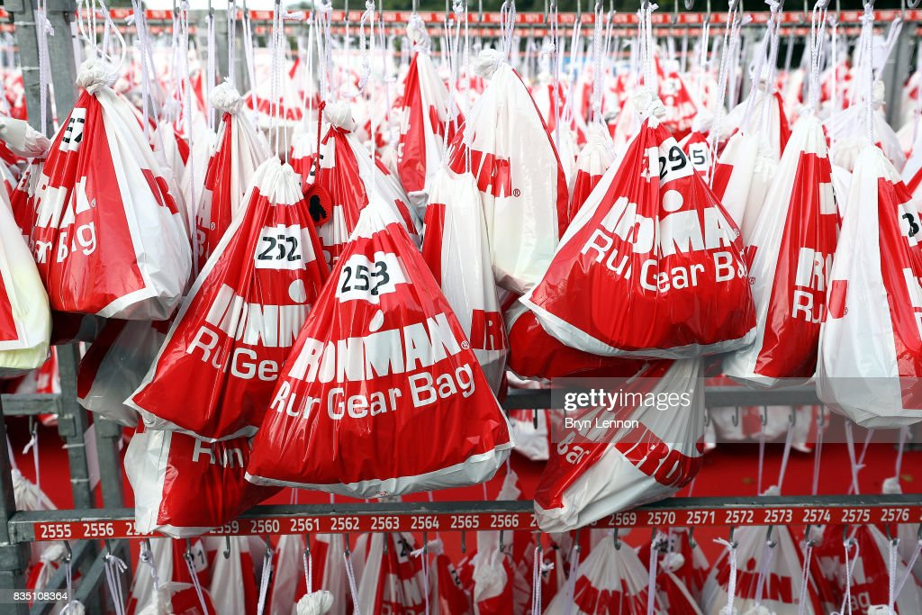 Athletes kit bags are seen ahead of IRONMAN Kalmar on August 18, 2017 in Kalmar, Sweden.