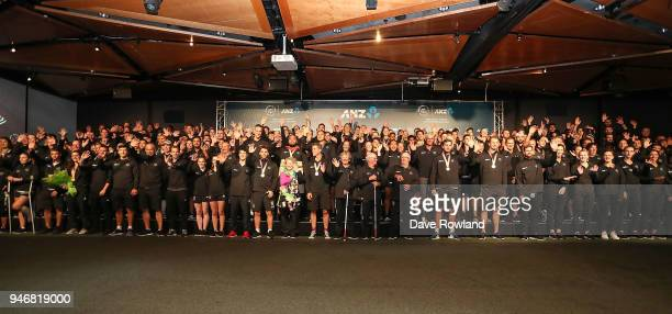 Athletes lineup on the stage during the Welcome Home Function at Novotel on April 16 2018 in Auckland New Zealand