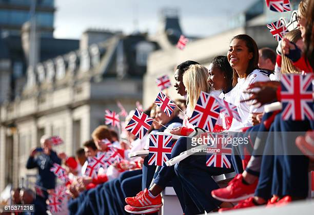 Athletes look on during the Olympics & Paralympics Team GB - Rio 2016 Victory Parade at Trafalgar Square on October 18, 2016 in London, England.