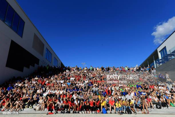 Athletes look on during the opening ceremony ahead of the IAAF World U20 Championships on July 9, 2018 in Tampere, Finland.