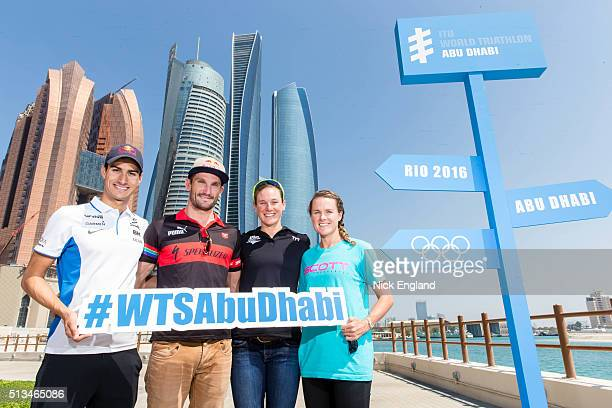 Athletes Mario Mola Richard Murray Katie Zafares and Flora Duffy pose during the ITU World Triathlon Abu Dhabi Press Conference on March 3 2016 in...