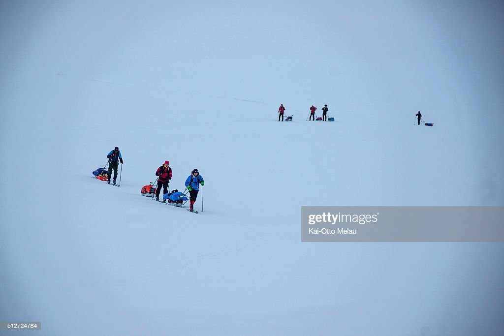 Athletes navigate themselves, but tends to follow each others paths during Expedition Amundsen on February 27, 2016 in Eidfjord, Norway. Expedition Amundsen is called the world`s hardest skirace. 40km across the Hardangervidda, 40kg in the sled and 100km. The race follows the path of the explorer Roald Amundsen.