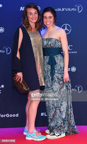 Athletes Nikki Hamblin of New Zealand and Abbey D'Agostino of the US and nominees for Laureus Best Sporting Moment of the Year Award attend the 2017...