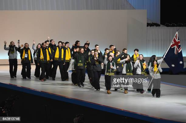 Athletes of Australia enter the arena during the Opening Ceremony on day two of the 2017 Sapporo Asian Winter Games at Sapporo Dome on February 19...