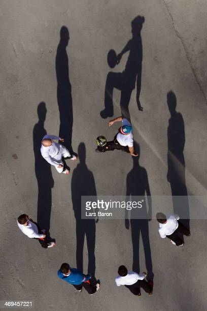 Athletes of Austria warm up while playing football during the Men's Individual Gundersen Large Hill/10 km Nordic Combined training on day 8 of the...