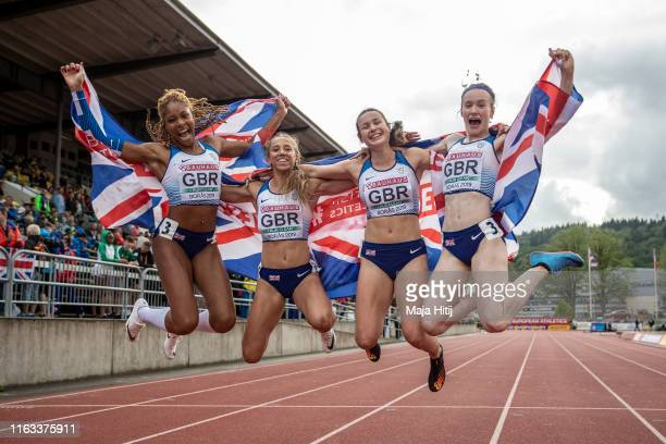 Athletes of Great Britain and Northern Ireland Team celebrate after winning 4x400m Relay Women on July 21, 2019 in Boras, Sweden.