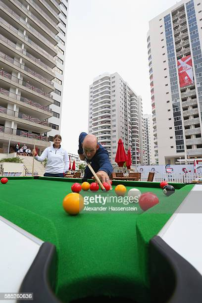 Athletes of Great Britain playing pool billiard at the Olympic Village ahead of the Rio 2016 Olympic Games on August 2 2016 in Rio de Janeiro Brazil