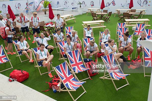 Athletes of Great Britain Womans Rugby team relax at the Olympic Village ahead of the Rio 2016 Olympic Games on August 2 2016 in Rio de Janeiro Brazil