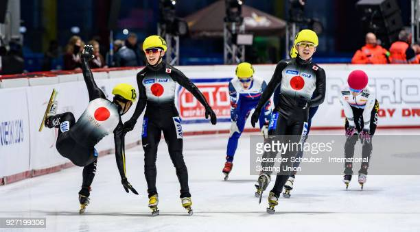 Athletes of Japan celebrate winning the Mens 3000m Relay Final A during the World Junior Short Track Speed Skating Championships Day 2 at Arena...