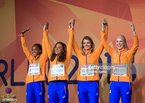 Athletes of Netherlands celebrate after winning the silver medal in women's 4x100m relay final during the 2018 European Athletics Championships in...