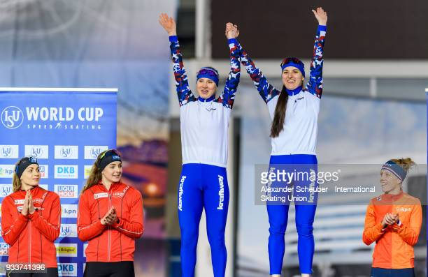 Athletes of Russia stand on the podium after winning the Overall Classification of the Ladies Team Sprint during the ISU World Cup Speed Skating...