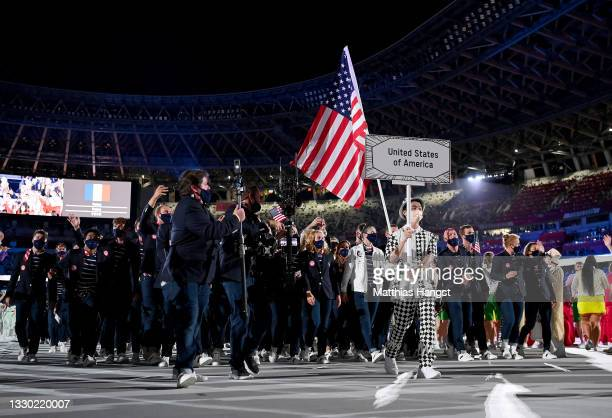 Athletes of team USA enjoy the atmosphere during the Opening Ceremony of the Tokyo 2020 Olympic Games at Olympic Stadium on July 23, 2021 in Tokyo,...