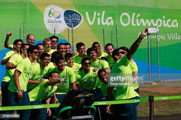 Athletes of the Brazilian national field hockey team arrive at Olympic Village on July 24 2016 in Rio de Janeiro Brazil The Village will host up to...