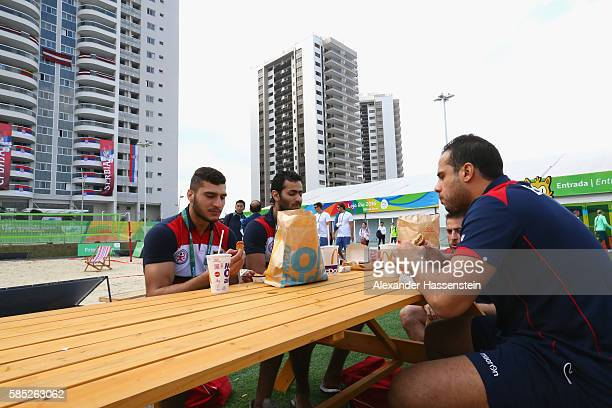 Athletes of the Egypt Handball team relax at the Olympic Village ahead of the Rio 2016 Olympic Games on August 2 2016 in Rio de Janeiro Brazil