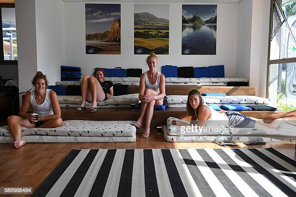 Athletes of the New Zealand team are seen in the relaxing room of the Athletes village on August 4 2016 in Rio de Janeiro Brazil