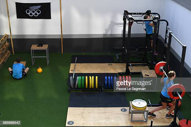 Athletes of the New Zealand team Rio 2016 Olympic games, Hugo Inglis, Helena Gasson and Emma Robinson are seen in their training room of the Athletes...