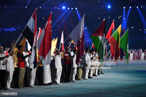 Athletes parade during the Asian Games 2018 Closing Ceremony on September 2 2018 in Jakarta Indonesia