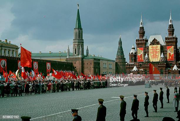 athletes parade in red square on may day - may day in russia stock pictures, royalty-free photos & images