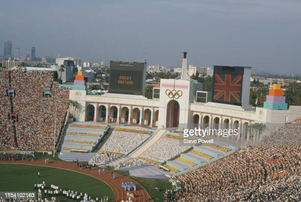 Athletes parade on the stadium infield during the opening ceremony for the XXIII Olympic Games on 28 July 1984 at the Los Angeles Memorial Coliseum...