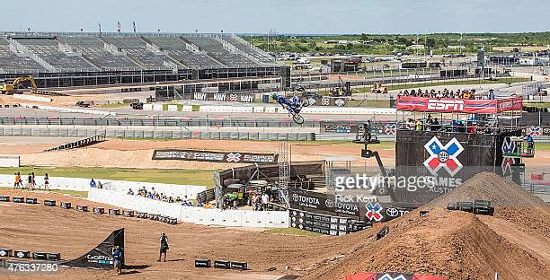 Athletes participate in Moto X Best Whip Final during X Games Austin at Circuit of The Americas on June 7 2015 in Austin Texas