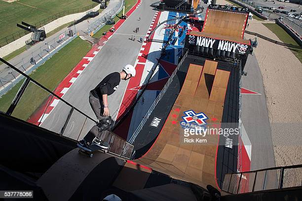 Athletes participate in Skateboard Big Air Practice during X Games Austin at Circuit of The Americas on June 2 2016 in Austin Texas