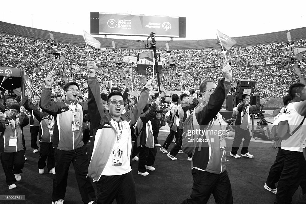 Athletes participate in the Opening Ceremony Of The Special Olympics World Games Los Angeles 2015 at Los Angeles Memorial Coliseum on July 25, 2015 in Los Angeles, California.