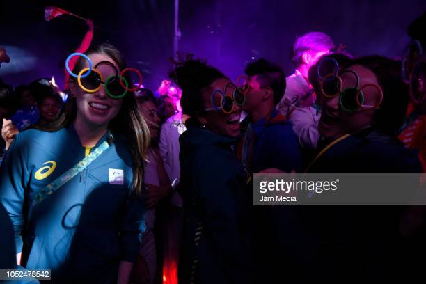 Athletes party on day 12 during the closing ceremony of Buenos Aires 2018 Youth Olympic Games at Youth Olympic Park Villa Soldati on October 18, 2018...