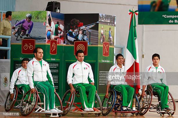 Athletes perform during the opening of the Central American Wheelchair Basketball Championship at Paralympic school gym on October 14, 2010 in Mexico...
