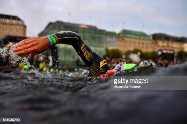 Athletes perform in the swim leg of the IRONMAN Hamburg on August 13 2017 in Hamburg Germany