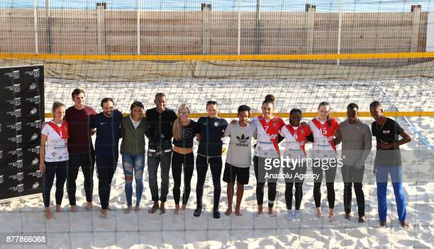 Athletes pose before beach volley match ahead of IAAF best player gala in Monaco Monaco on November 23 2017