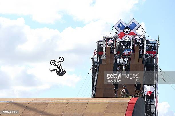 Athletes practice BMX bike jumping on the Big Air ramp during the X Games at Circuit of The Americas on June 2 2016 in Austin Texas