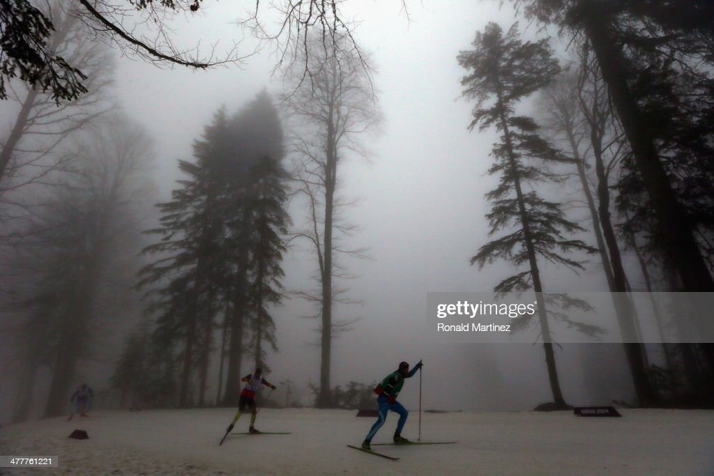 Athletes practice during day four of Sochi 2014 Paralympic Winter Games at Laura Cross-country Ski & Biathlon Center on March 11, 2014 in Sochi, Russia.