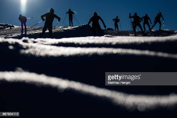 Athletes practice on track during the Official Training prior to the BMW IBU World Cup Biathlon on December 7, 2017 in Hochfilzen, Austria.