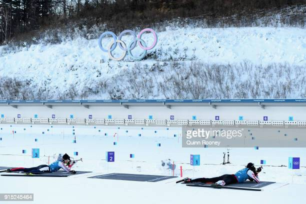 Athletes practice shooting during Biathlon practice ahead of the PyeongChang 2018 Winter Olympic Games at Alpensia Biathlon Centre on February 7 2018...