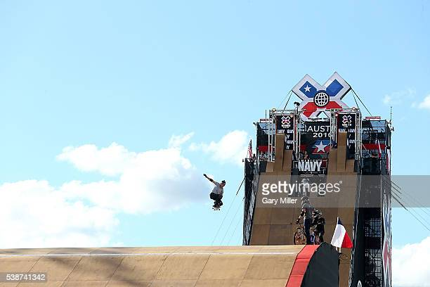 Athletes practice skate boarding on the Big Air ramp during the X Games at Circuit of The Americas on June 2 2016 in Austin Texas