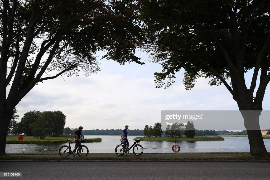 Athletes prepare for the IRONMAN Kalmar on August 18, 2017 in Kalmar, Sweden.