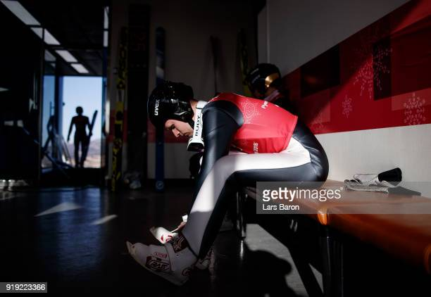 Athletes prepare for the Nordic Combined official training on February 17 2018 in Pyeongchanggun South Korea