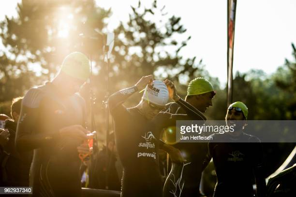 Athletes prepare for the start of the IRONMAN St Polten 703 on May 27 2018 in Sankt Polten Austria