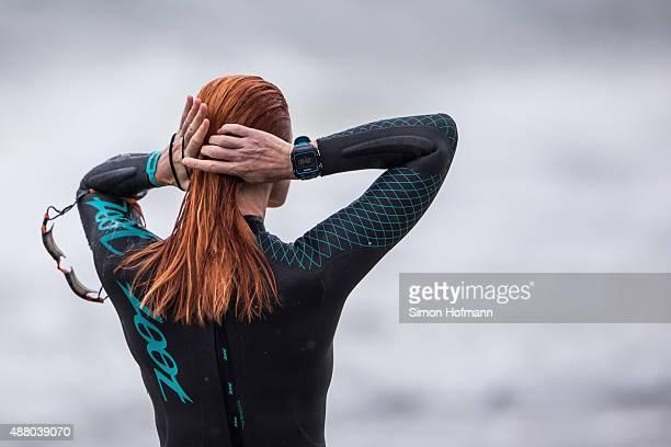 Athletes prepare prior to the Ironman 703 Ruegen at Reugen Island on September 13 2015 in Stralsund Germany