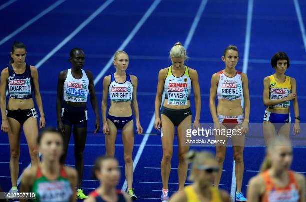 Athletes prepare to compete during the women's 10000m final race during the third day of the 2018 European Athletics Championships in Berlin Germany...