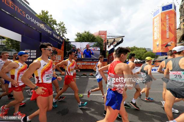 Athletes prepare to compete in the Men's and Women's 20km Race Walk during day five of the 24th European Athletics Championships on August 11 2018 in...