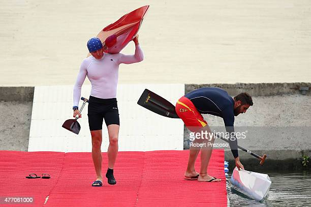Athletes prepare to enter the water prior to competition during day two of the Baku 2015 European Games at Mingachevir on June 14 2015 in Baku...