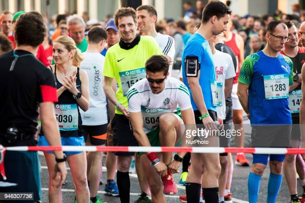 Athletes prepare to run during the 12th Airport Night Run at Berlin Brandenburg Airport in Schoenefeld Germany on April 14 2018 Over 6000 people...