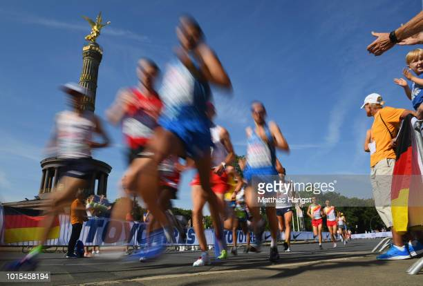 Athletes race past the Berlin Victory Column in the Men's Marathon final during day six of the 24th European Athletics Championships at...